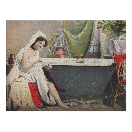 Victorian woman bathing postcard