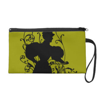 Victorian Woman Bicycle Floral Design Flowery Wristlets