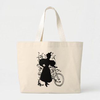 Victorian Woman Bicycle Floral Design Flowery Tote Bag