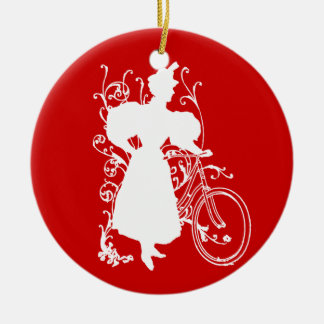Victorian Woman Bicycle Floral Design Flowery Ceramic Ornament