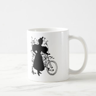 Victorian Woman Bicycle Floral Design Flowery Coffee Mug