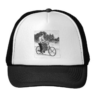 Victorian Woman Cycling - Vintage Bicycles Trucker Hat