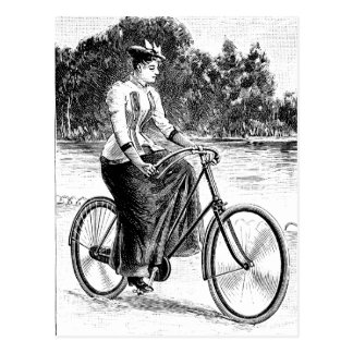 Victorian Woman Cycling - Vintage Bicycles Postcard