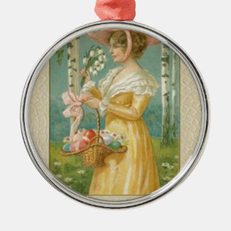 Victorian Woman Easter Colored Painted Egg Basket Metal Ornament