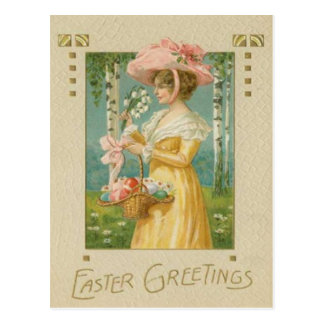 Victorian Woman Easter Colored Painted Egg Basket Postcard