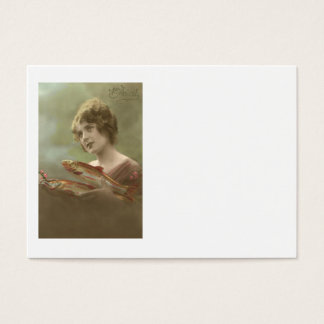 Victorian Woman Fish Poisson d'avril April Fool's Business Card