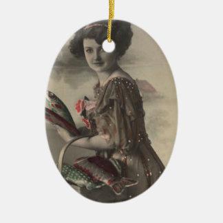 Victorian Woman Fish Poisson d'avril April Fool's Ceramic Ornament