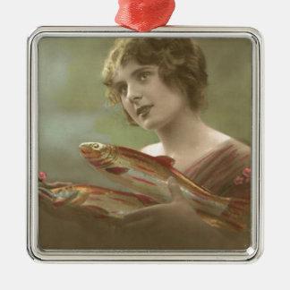 Victorian Woman Fish Poisson d'avril April Fool's Square Metal Christmas Ornament