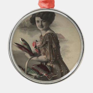 Victorian Woman Fish Poisson d'avril April Fool's Round Metal Christmas Ornament