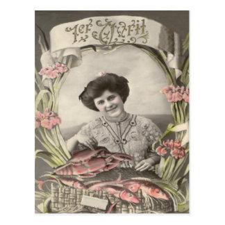 Victorian Woman Fish Poisson d'avril April Fool's Postcard