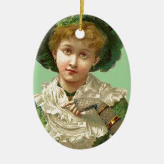 Victorian Woman Green Ceramic Ornament