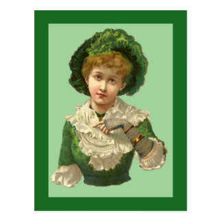Victorian Woman Green Postcards
