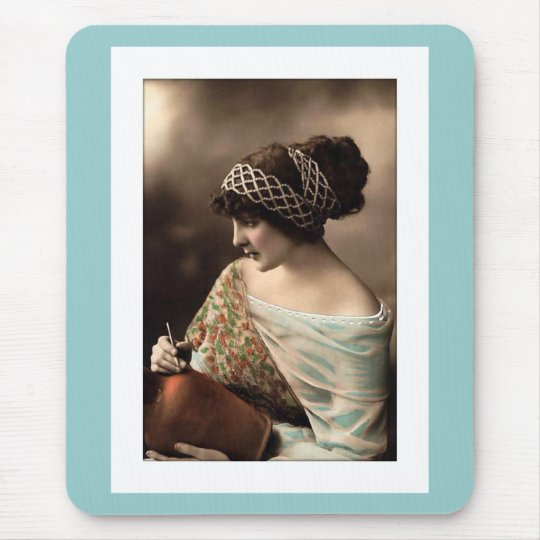 victorian woman hair up in beads mouse pad