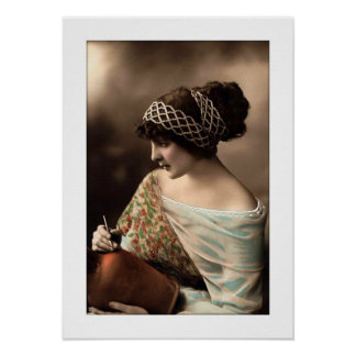 victorian woman hair up in beads poster