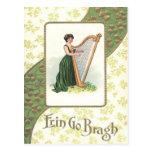 Victorian Woman Harp Shamrock Gold Postcard