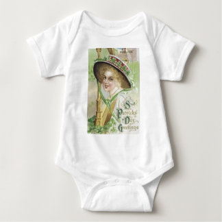 Victorian Woman Harp Shamrock Pork Pie Hat Baby Bodysuit