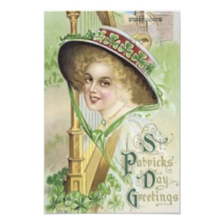Victorian Woman Harp Shamrock Pork Pie Hat Photo Print