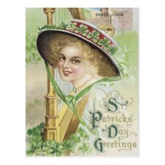 Victorian Woman Harp Shamrock Pork Pie Hat Postcard