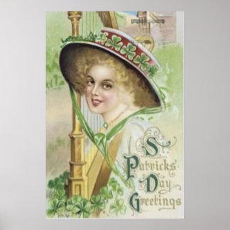 Victorian Woman Harp Shamrock Pork Pie Hat Poster