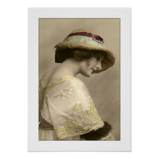 victorian woman hat beaded dress poster