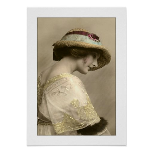 victorian woman hat beaded dress posters