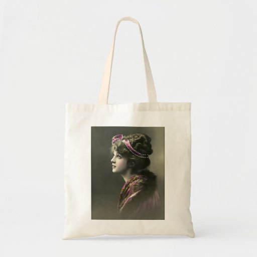 victorian woman hopeful expression budget tote bag