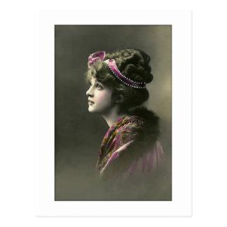 victorian woman hopeful expression postcard
