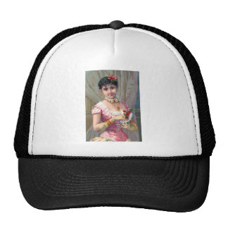 Victorian Woman in Pink Trucker Hat