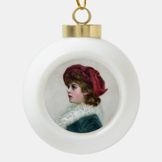 Victorian Woman in Red Feathered Cap Ceramic Ball Christmas Ornament
