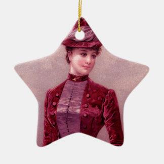 Victorian Woman In Velvet Ceramic Ornament