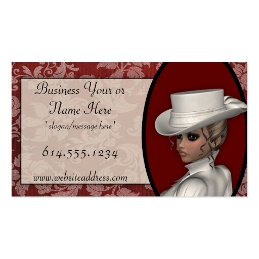 Victorian woman in white business cards zazzle for Business cards for women