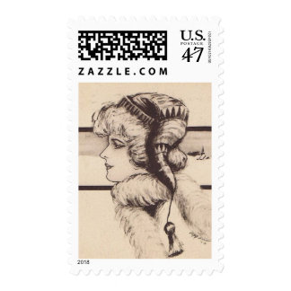 Victorian Woman in Winter - 1st Class Stamps