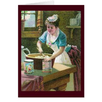 Victorian Woman Mixing Dough in Bowl Card