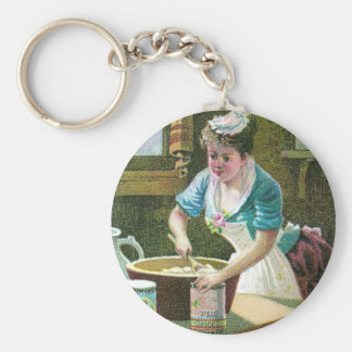 Victorian Woman Mixing Dough in Bowl Basic Round Button Keychain