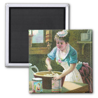 Victorian Woman Mixing Dough in Bowl Magnets