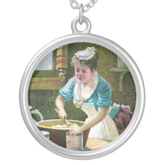 Victorian Woman Mixing Dough in Bowl Round Pendant Necklace