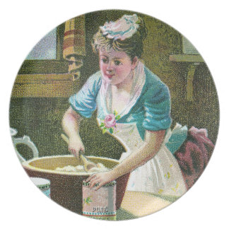 Victorian Woman Mixing Dough in Bowl Plate