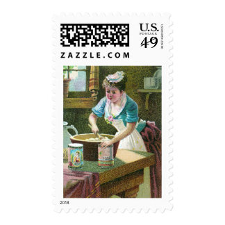 Victorian Woman Mixing Dough in Bowl Postage