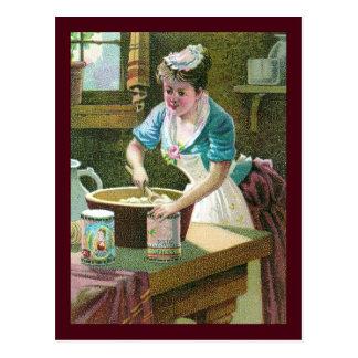 Victorian Woman Mixing Dough in Bowl Postcard