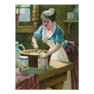 Victorian Woman Mixing Dough in Bowl Poster