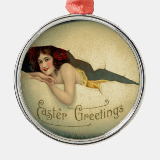 Victorian Woman Pin Up Easter Egg Grass Metal Ornament