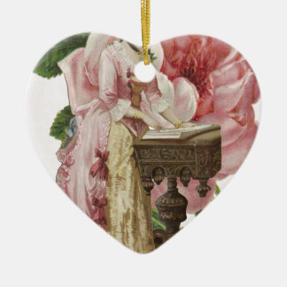 Victorian Woman Pink Dress Roses Ceramic Ornament