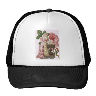 Victorian Woman Pink Dress Roses Trucker Hat