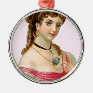 Victorian Woman Pink Metal Ornament