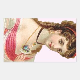 Victorian Woman Pink Rectangular Sticker