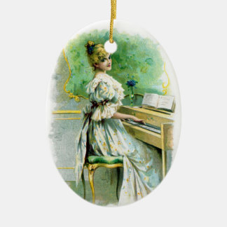 Victorian Woman Playing Piano Ceramic Ornament