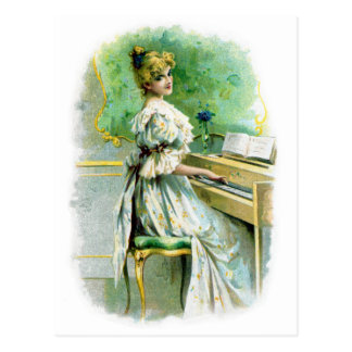Victorian Woman Playing Piano Post Card