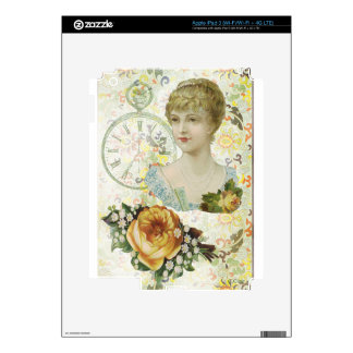Victorian Woman Pocket Watch Yellow Rose iPad 3 Decals