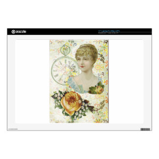 Victorian Woman Pocket Watch Yellow Rose Laptop Decals