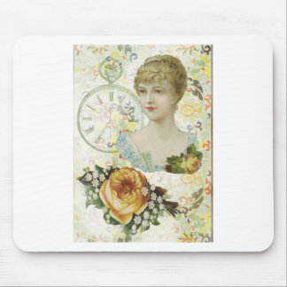 Victorian Woman Pocket Watch Yellow Rose Mouse Pad